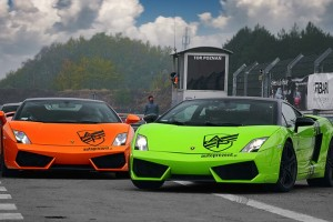 Pomarańczowe i zielone Lamborghini